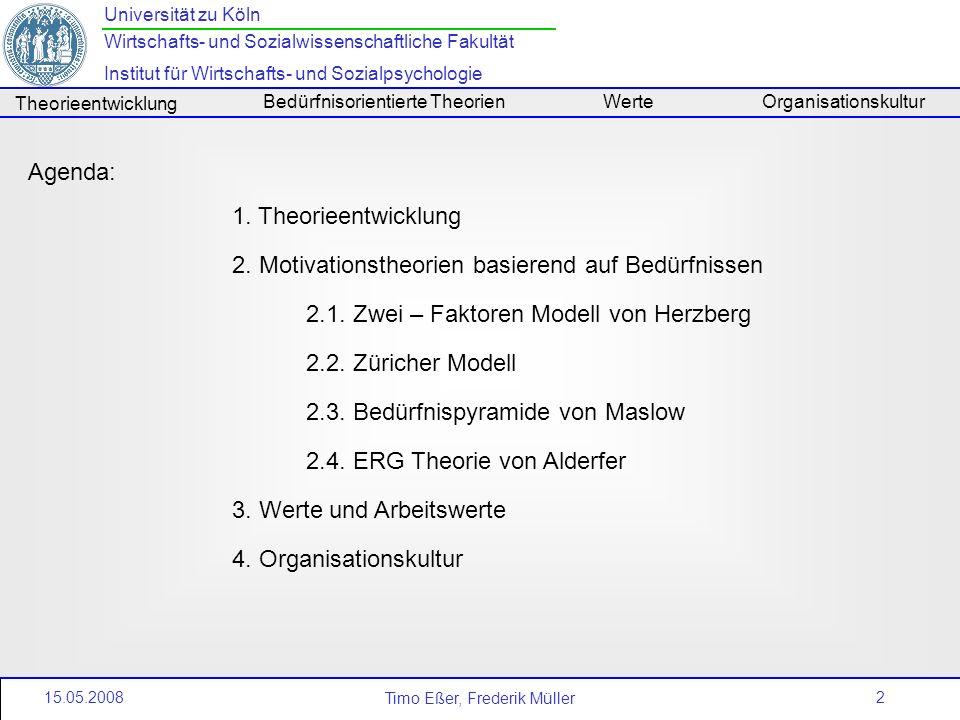 Agenda: Theorieentwicklung. Motivationstheorien basierend auf Bedürfnissen. 2.1. Zwei – Faktoren Modell von Herzberg.