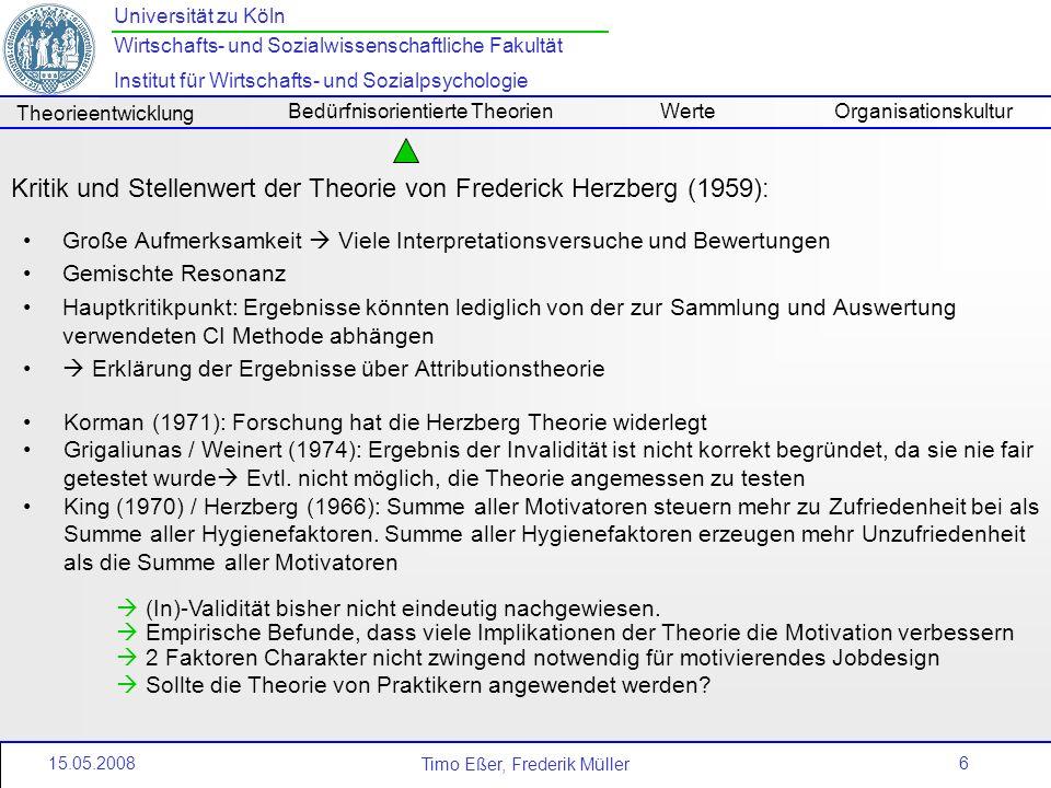 Kritik und Stellenwert der Theorie von Frederick Herzberg (1959):