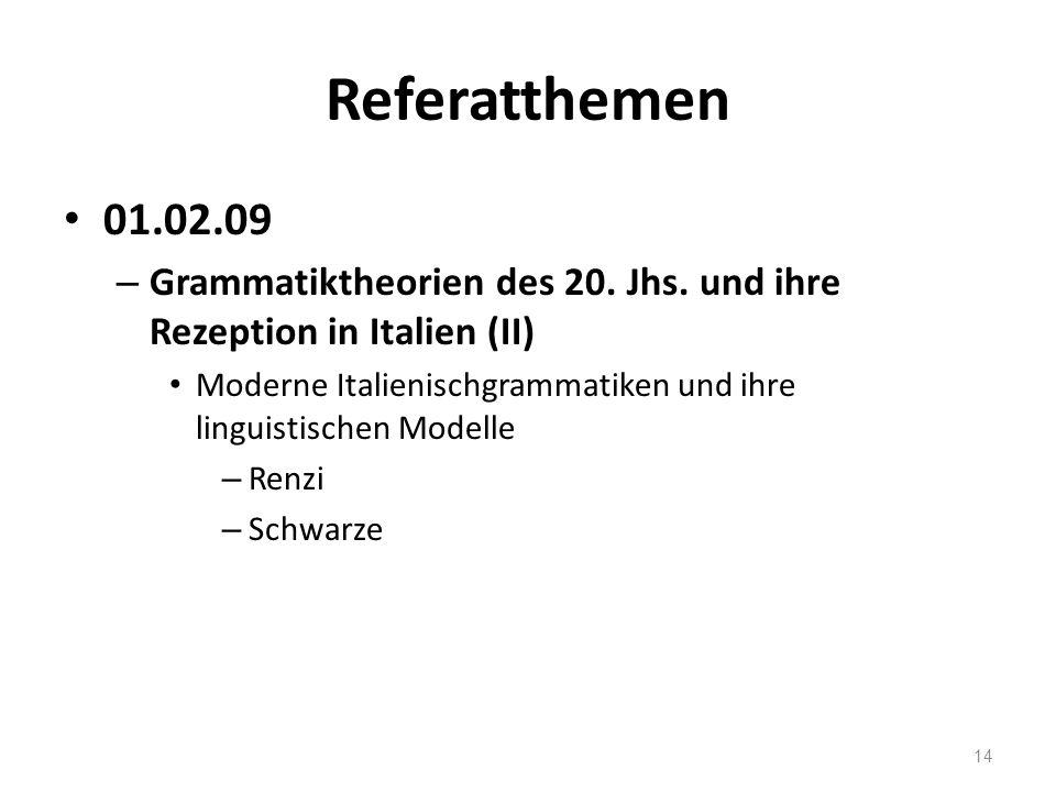 Referatthemen 01.02.09. Grammatiktheorien des 20. Jhs. und ihre Rezeption in Italien (II)