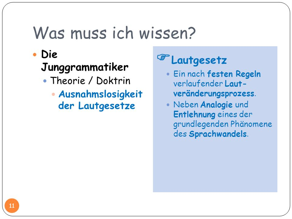 Was muss ich wissen Lautgesetz Die Junggrammatiker Theorie / Doktrin