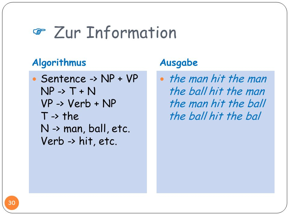  Zur Information Algorithmus. Ausgabe. Sentence -> NP + VP NP -> T + N VP -> Verb + NP T -> the N -> man, ball, etc. Verb -> hit, etc.