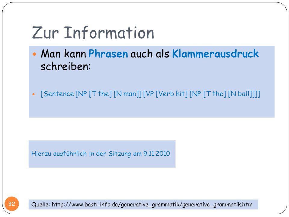 Zur Information Man kann Phrasen auch als Klammerausdruck schreiben: