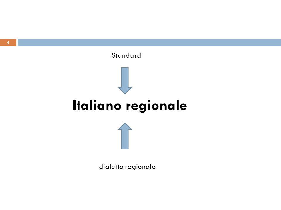 Standard Italiano regionale dialetto regionale