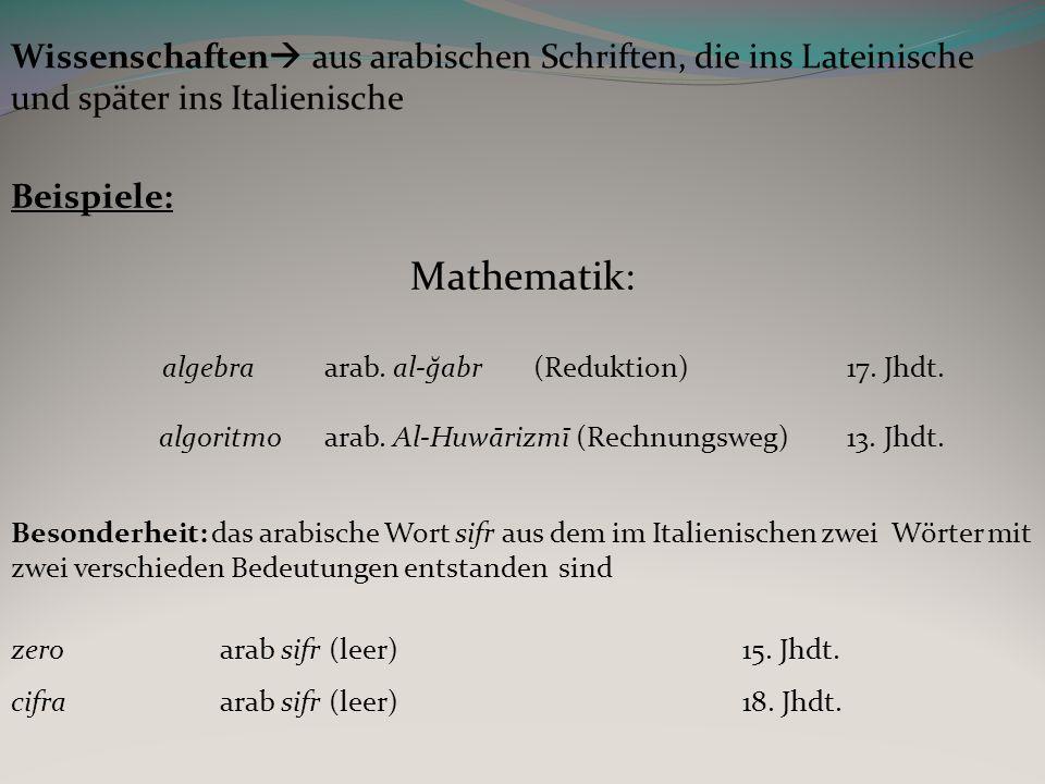 Wissenschaften aus arabischen Schriften, die ins Lateinische und später ins Italienische
