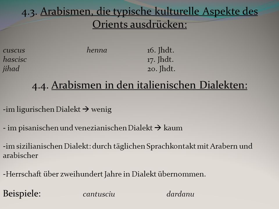 4.4. Arabismen in den italienischen Dialekten: