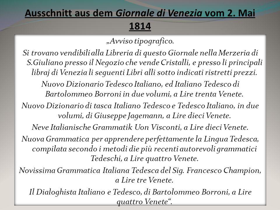 Ausschnitt aus dem Giornale di Venezia vom 2. Mai 1814