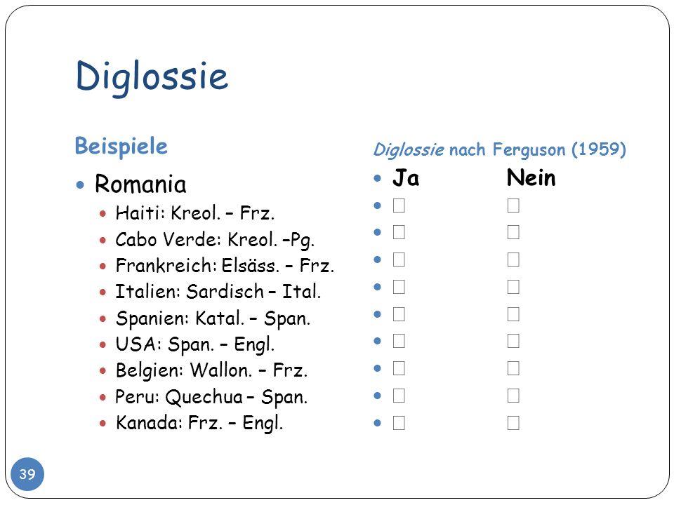 Diglossie Romania Beispiele Ja Nein   Haiti: Kreol. – Frz.