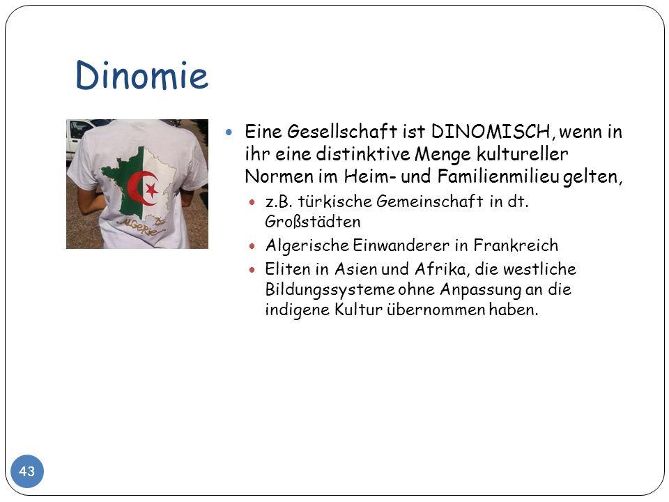Dinomie Eine Gesellschaft ist DINOMISCH, wenn in ihr eine distinktive Menge kultureller Normen im Heim- und Familienmilieu gelten,