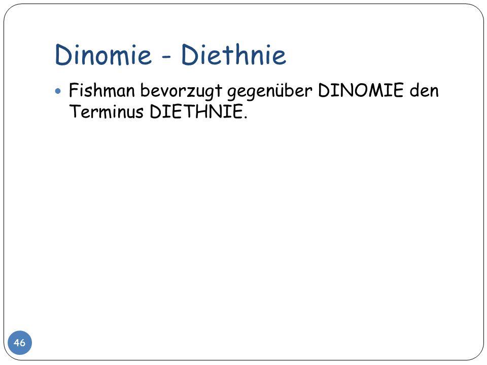 Dinomie - Diethnie Fishman bevorzugt gegenüber DINOMIE den Terminus DIETHNIE.
