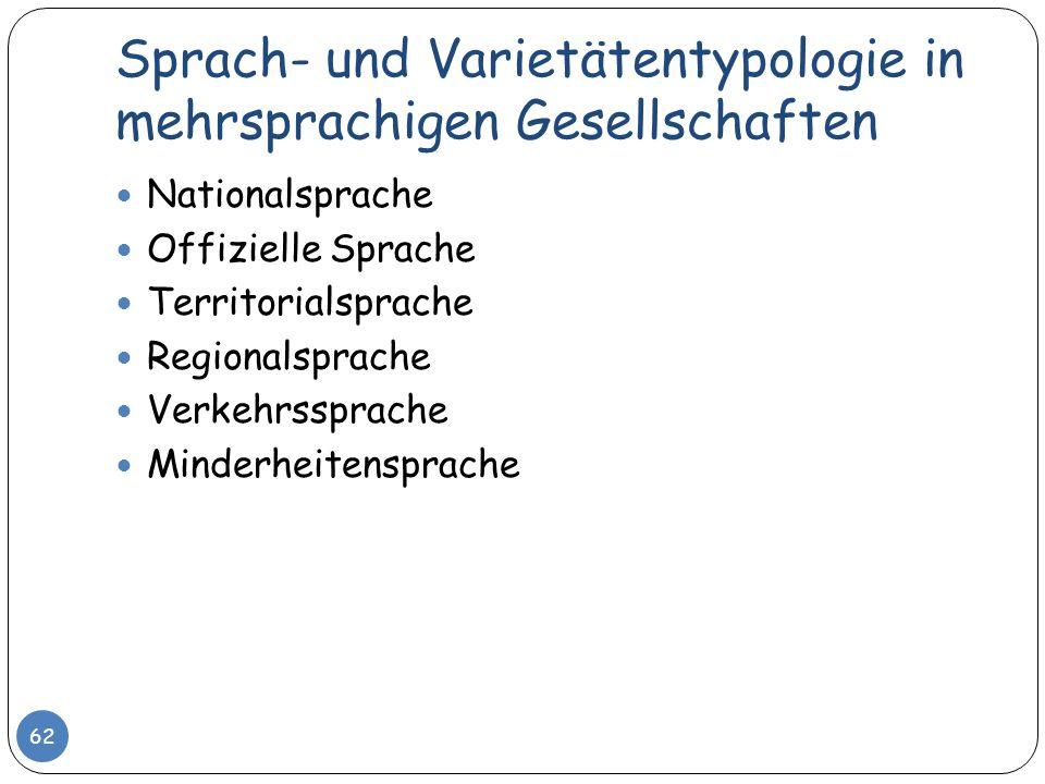 Sprach- und Varietätentypologie in mehrsprachigen Gesellschaften