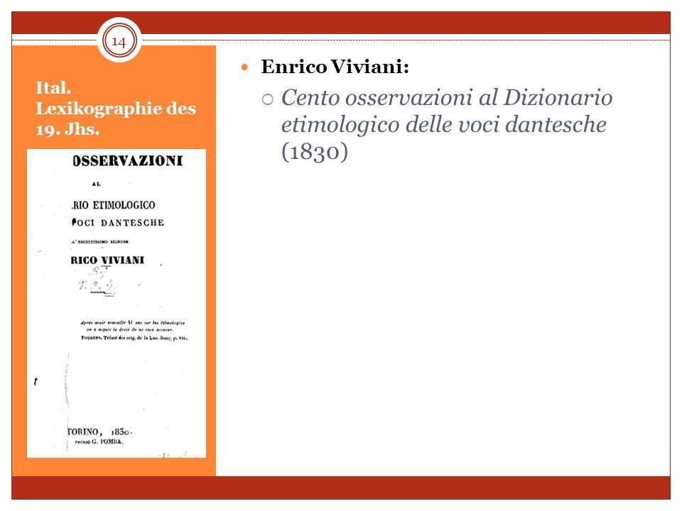 Ital. Lexikographie des 19. Jhs.