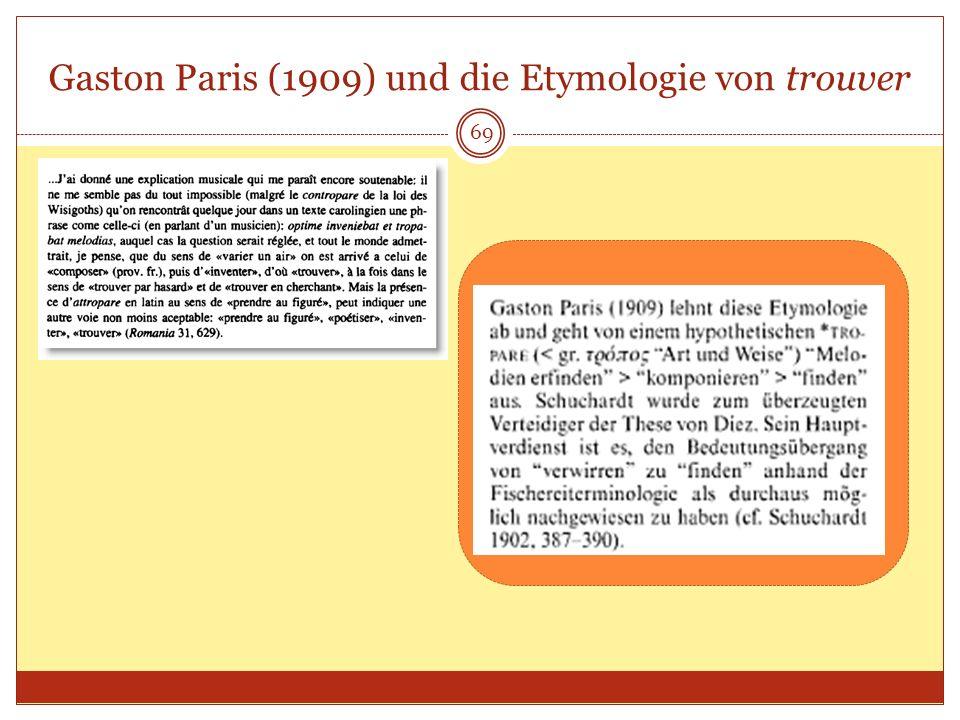 Gaston Paris (1909) und die Etymologie von trouver