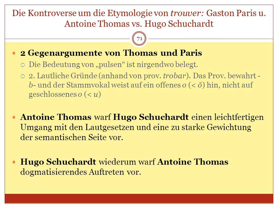 Die Kontroverse um die Etymologie von trouver: Gaston Paris u