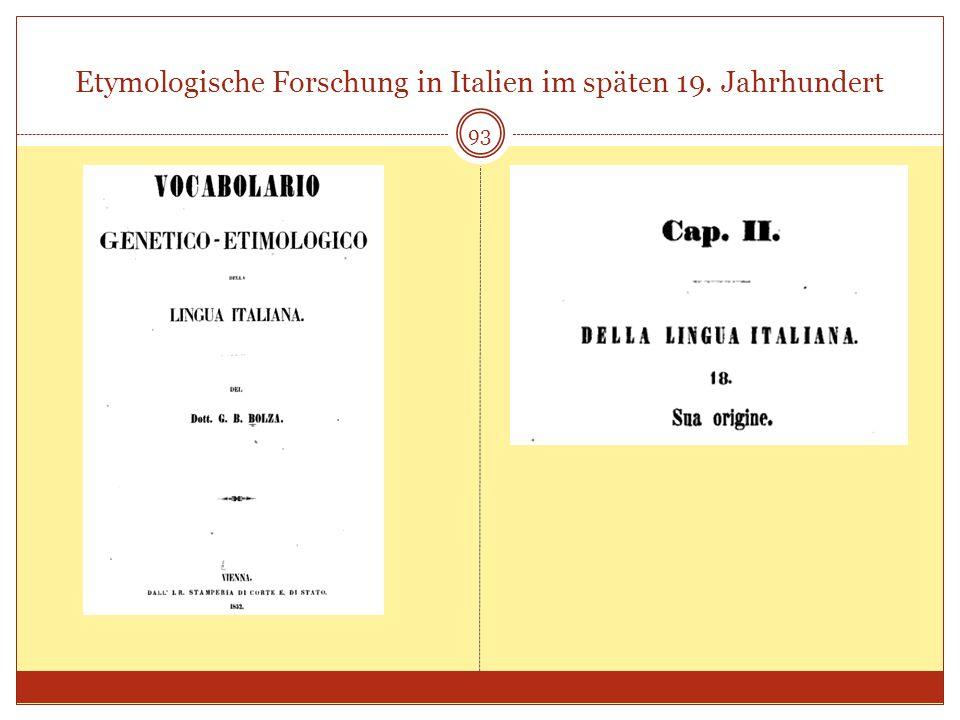 Etymologische Forschung in Italien im späten 19. Jahrhundert