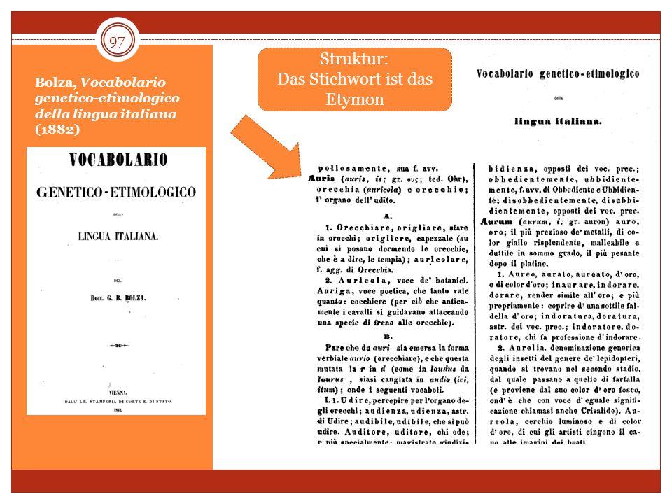 Bolza, Vocabolario genetico-etimologico della lingua italiana (1882)