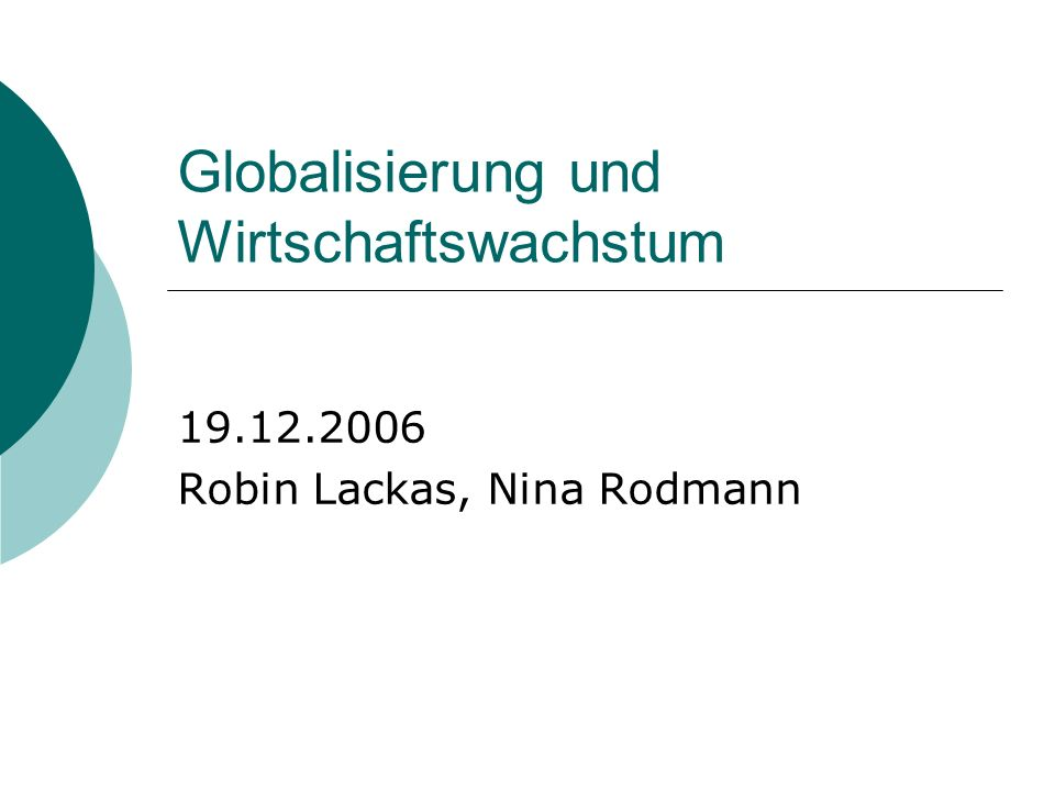 Globalisierung und Wirtschaftswachstum