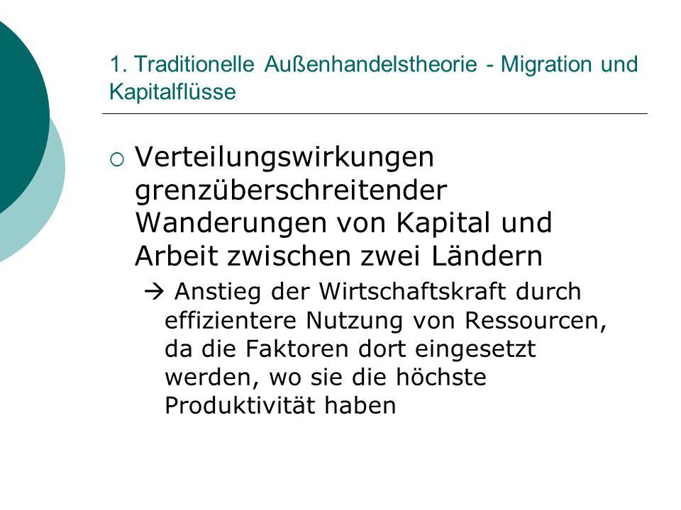 1. Traditionelle Außenhandelstheorie - Migration und Kapitalflüsse
