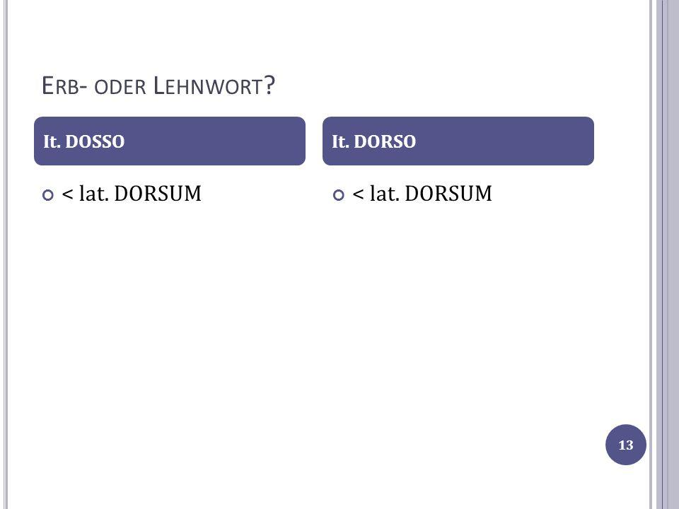 Erb- oder Lehnwort < lat. DORSUM < lat. DORSUM It. DOSSO