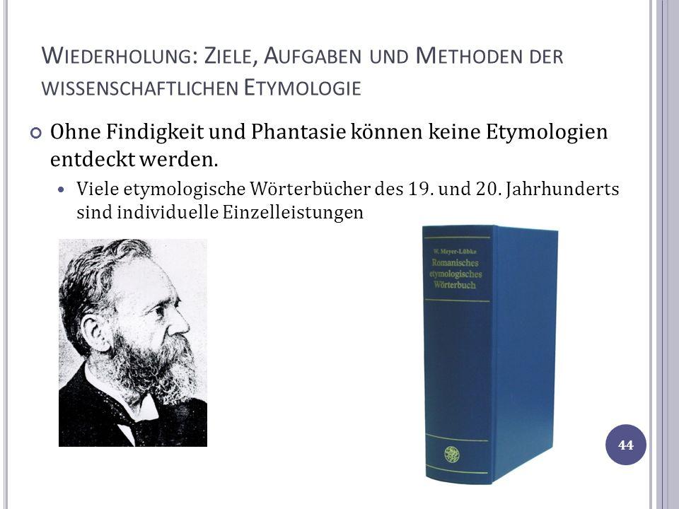 Wiederholung: Ziele, Aufgaben und Methoden der wissenschaftlichen Etymologie