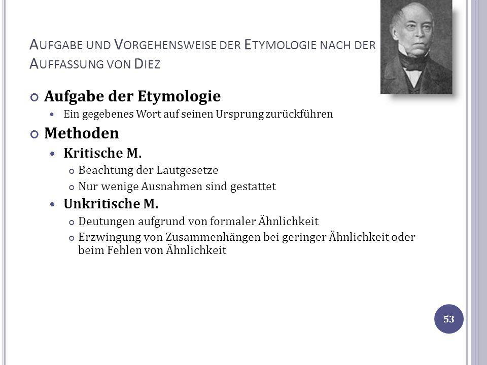 Aufgabe und Vorgehensweise der Etymologie nach der Auffassung von Diez