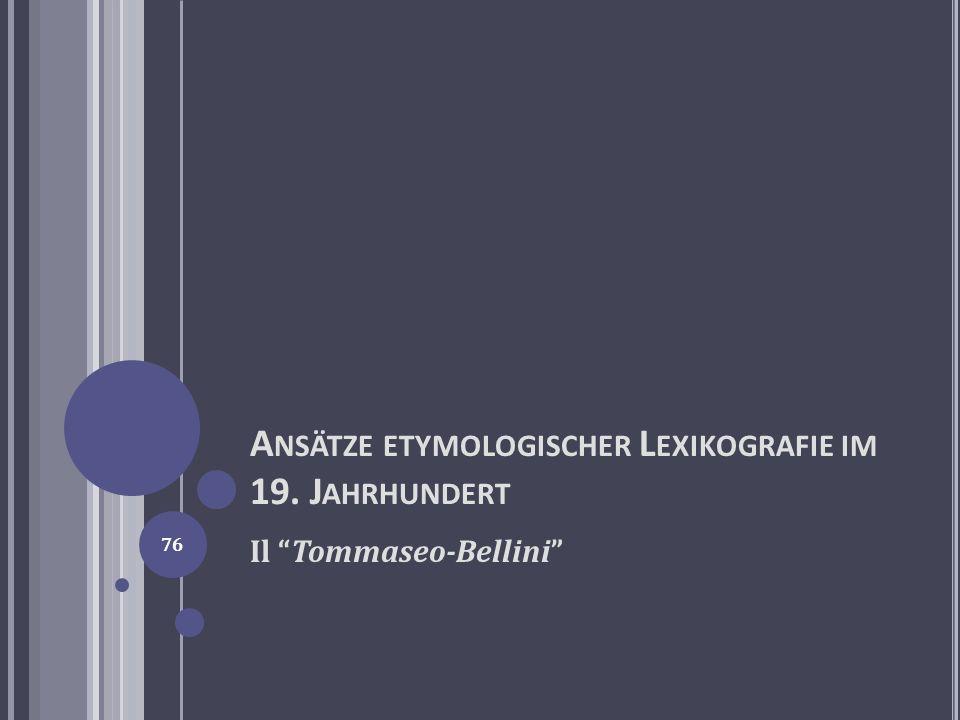 Ansätze etymologischer Lexikografie im 19. Jahrhundert