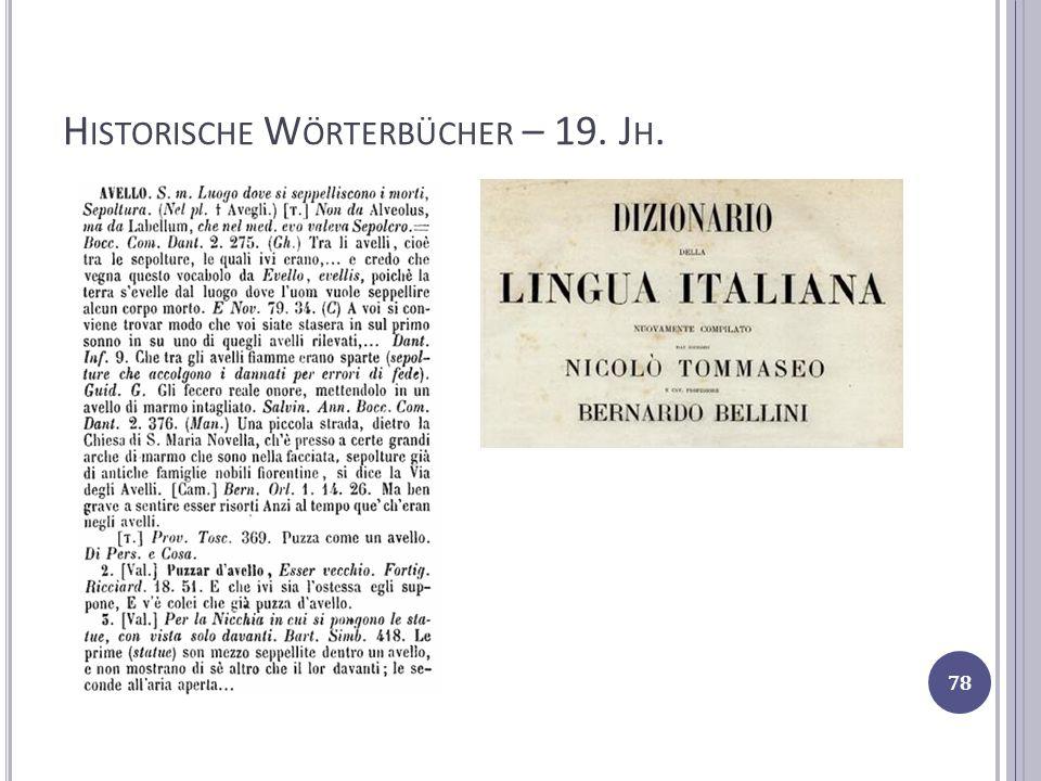 Historische Wörterbücher – 19. Jh.