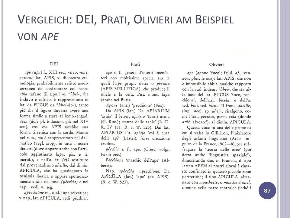 Vergleich: DEI, Prati, Olivieri am Beispiel von ape