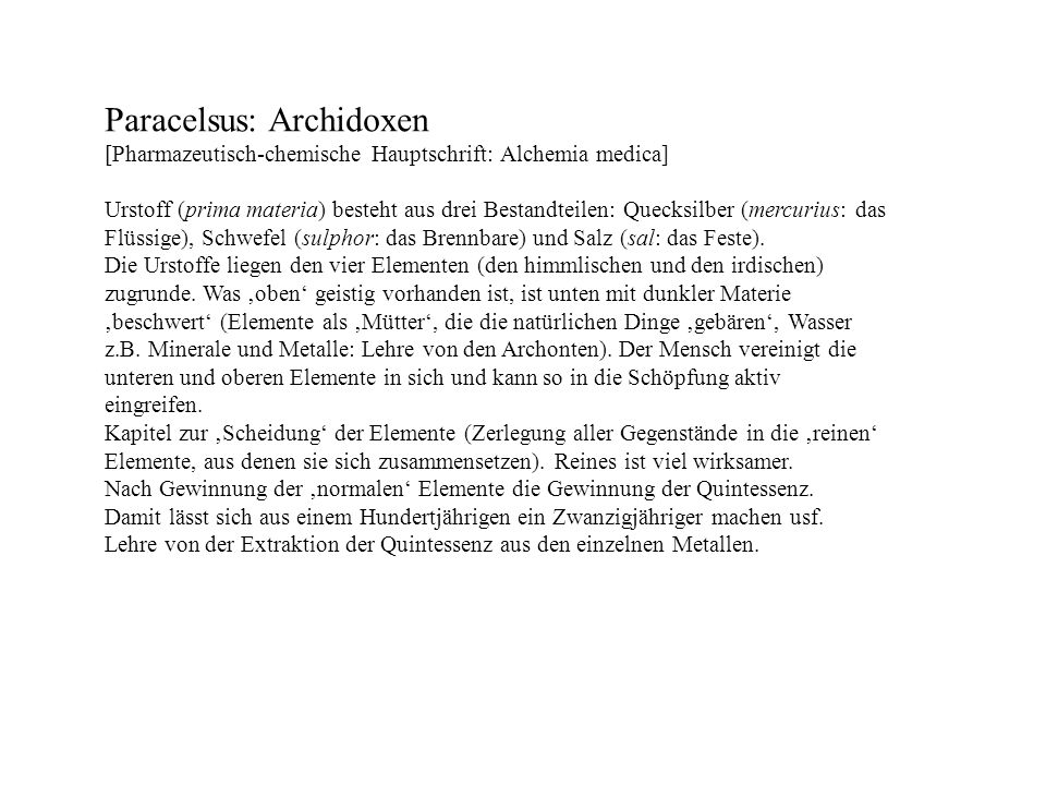 Paracelsus: Archidoxen