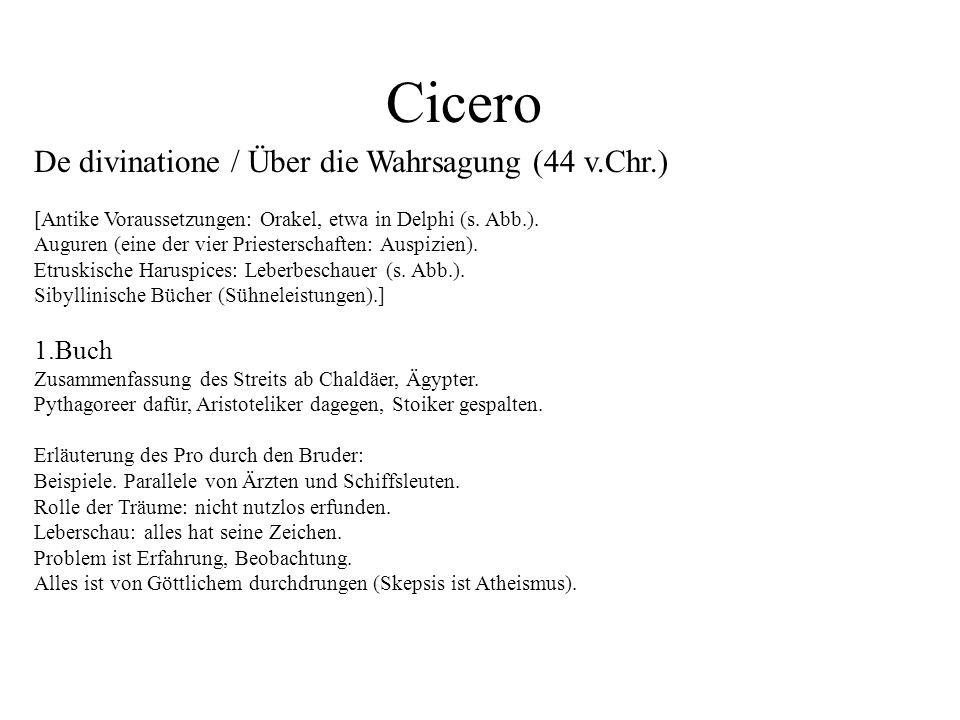 Cicero De divinatione / Über die Wahrsagung (44 v.Chr.) 1.Buch