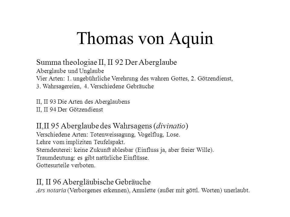 Thomas von Aquin Summa theologiae II, II 92 Der Aberglaube