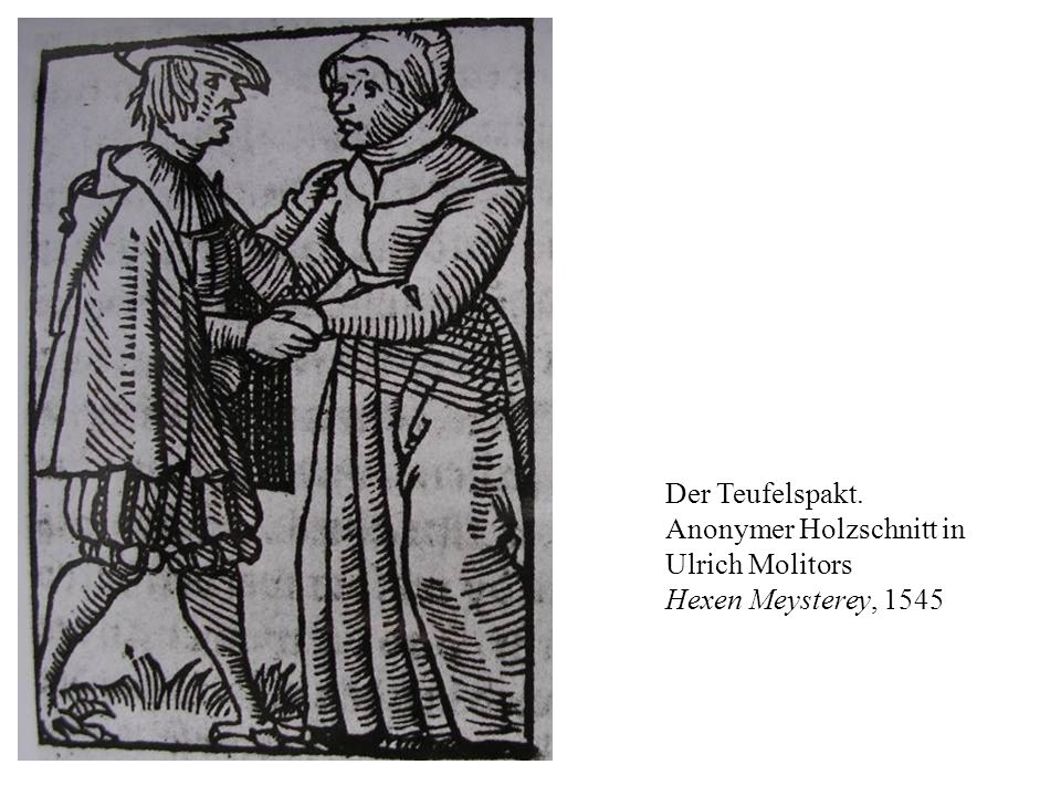 Der Teufelspakt. Anonymer Holzschnitt in Ulrich Molitors Hexen Meysterey, 1545