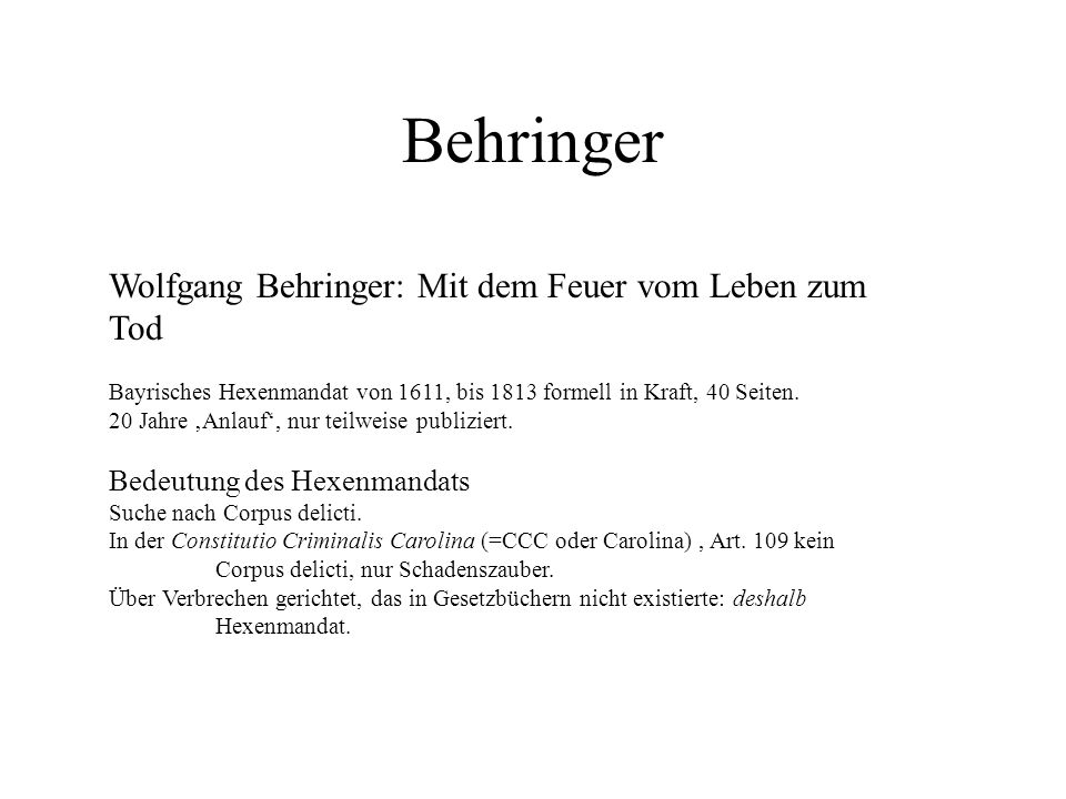 Behringer Wolfgang Behringer: Mit dem Feuer vom Leben zum Tod