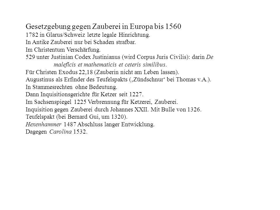 Gesetzgebung gegen Zauberei in Europa bis 1560
