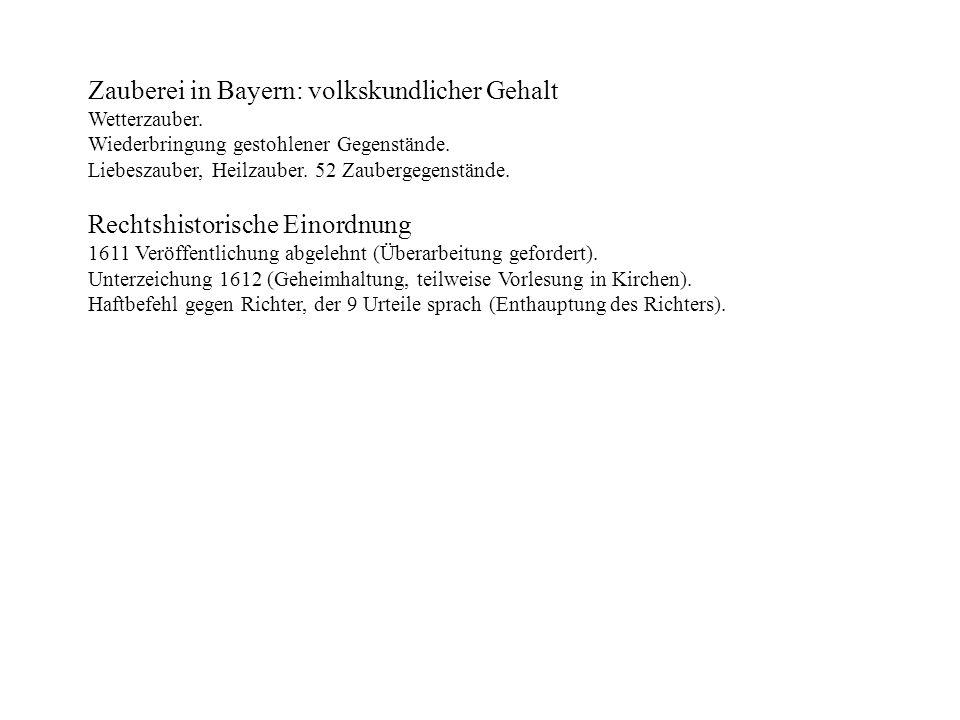 Zauberei in Bayern: volkskundlicher Gehalt