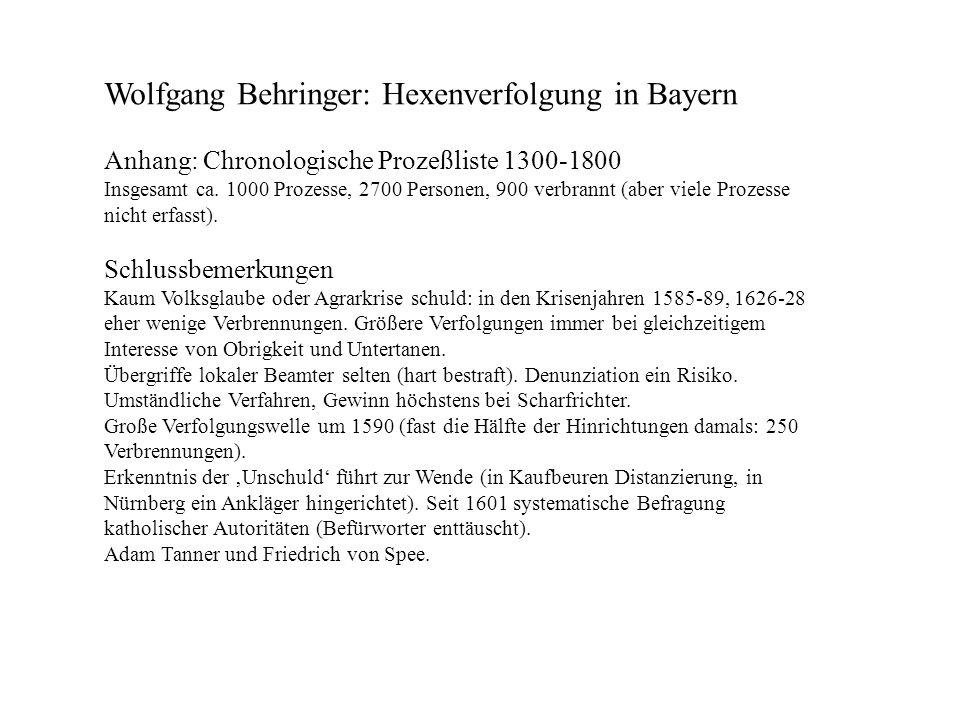 Wolfgang Behringer: Hexenverfolgung in Bayern