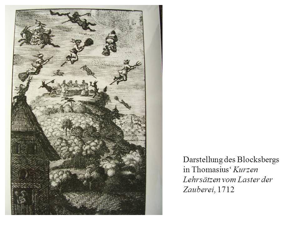 Darstellung des Blocksbergs in Thomasius' Kurzen Lehrsätzen vom Laster der Zauberei, 1712