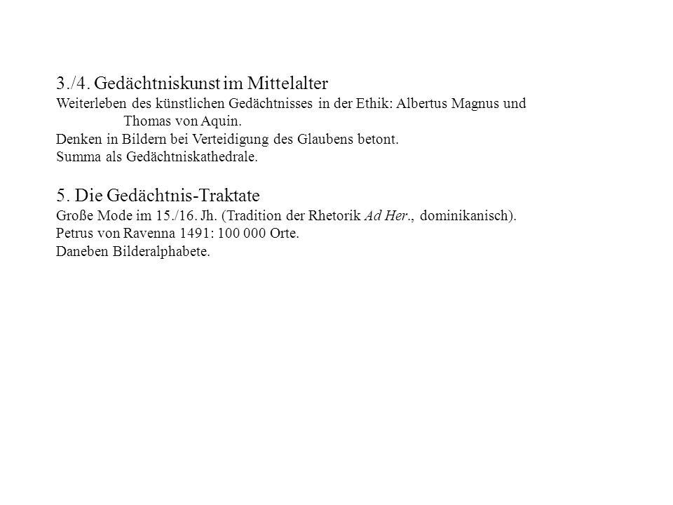3./4. Gedächtniskunst im Mittelalter