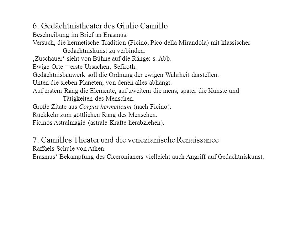 6. Gedächtnistheater des Giulio Camillo