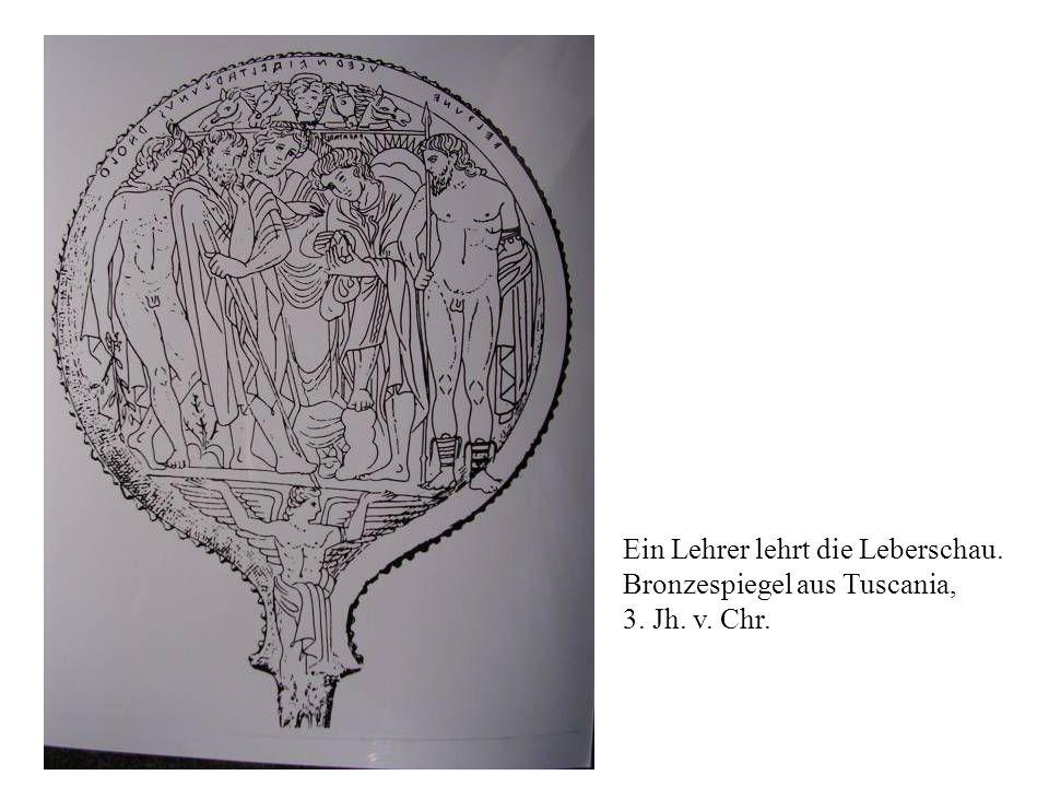 Ein Lehrer lehrt die Leberschau. Bronzespiegel aus Tuscania, 3. Jh. v