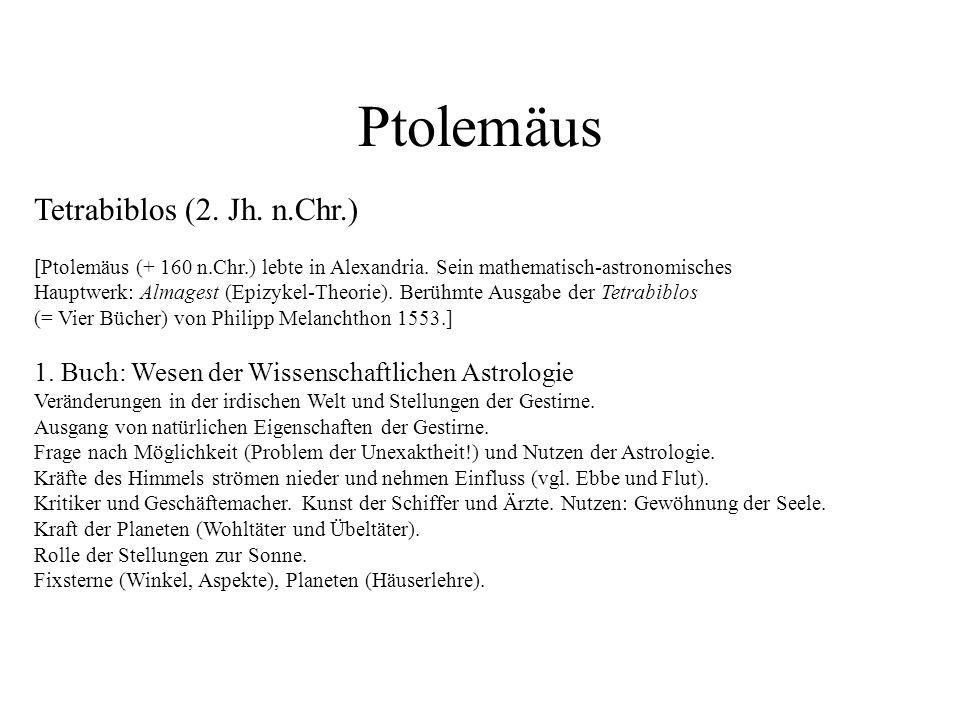 Ptolemäus Tetrabiblos (2. Jh. n.Chr.)