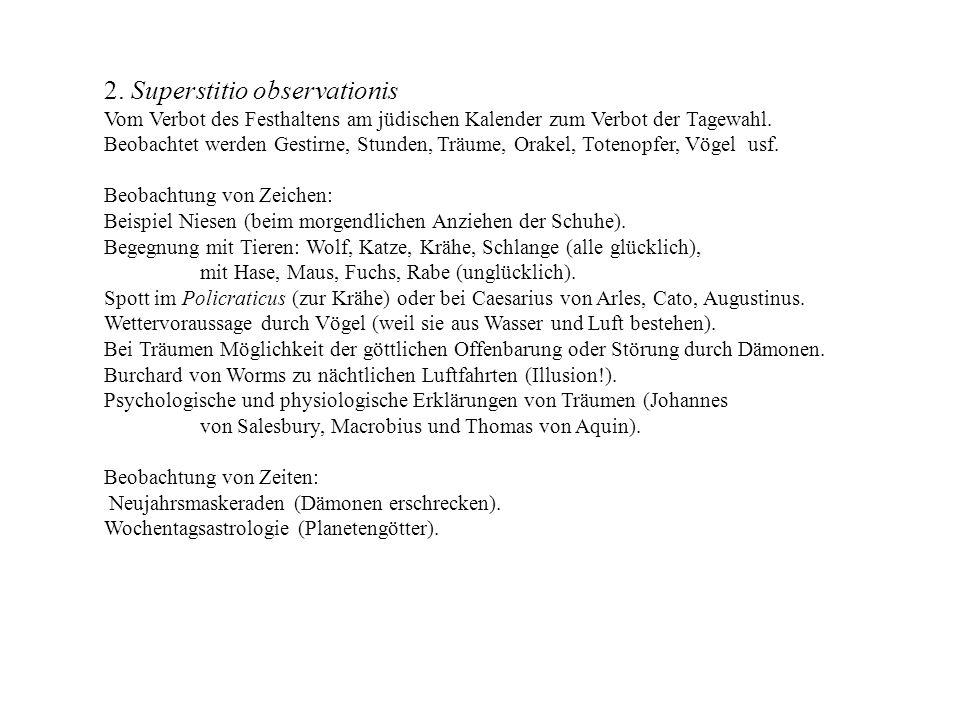 2. Superstitio observationis