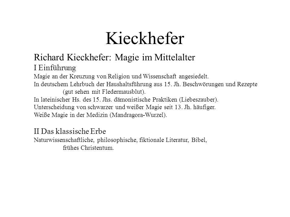 Kieckhefer Richard Kieckhefer: Magie im Mittelalter I Einführung