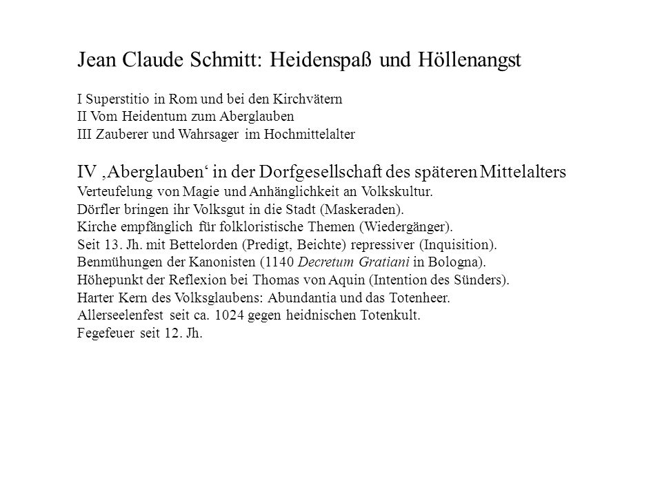 Jean Claude Schmitt: Heidenspaß und Höllenangst