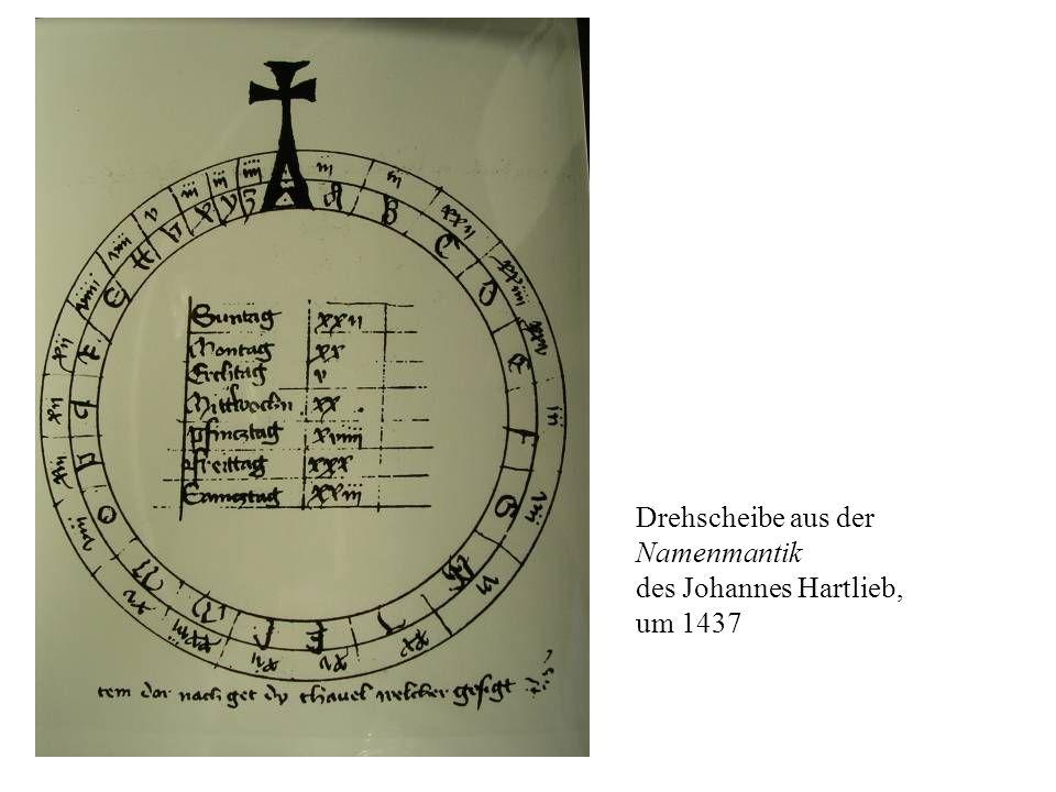 Drehscheibe aus der Namenmantik des Johannes Hartlieb, um 1437