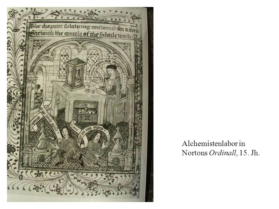 Alchemistenlabor in Nortons Ordinall, 15. Jh.