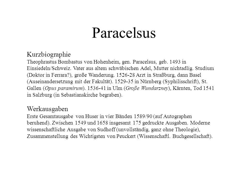 Paracelsus Kurzbiographie Werkausgaben