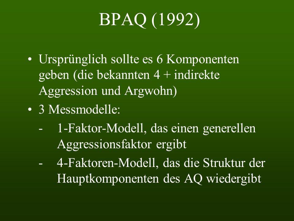BPAQ (1992) Ursprünglich sollte es 6 Komponenten geben (die bekannten 4 + indirekte Aggression und Argwohn)