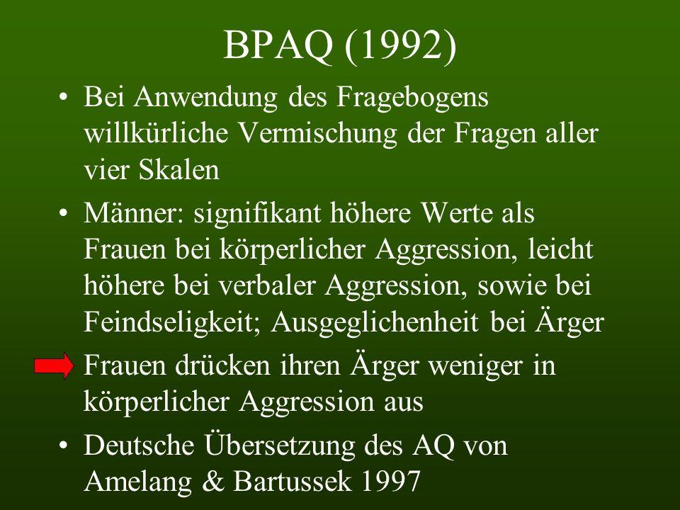 BPAQ (1992) Bei Anwendung des Fragebogens willkürliche Vermischung der Fragen aller vier Skalen.