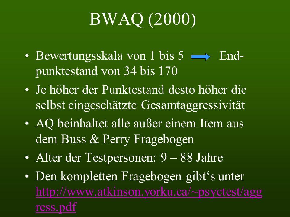 BWAQ (2000) Bewertungsskala von 1 bis 5 End-punktestand von 34 bis 170