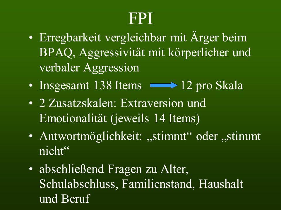 FPI Erregbarkeit vergleichbar mit Ärger beim BPAQ, Aggressivität mit körperlicher und verbaler Aggression.